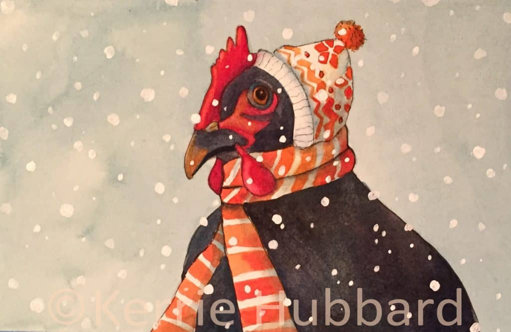 Hilde Endured the Snow for the Sake of Style | Original Watercolor | Kerrie Hubbard